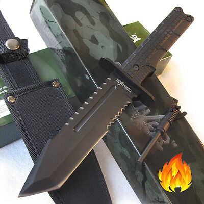 "DARK TRAILS Tanto Sawback 12"" Fixed Blade Hunting Survival Knife w/Fire Starter"