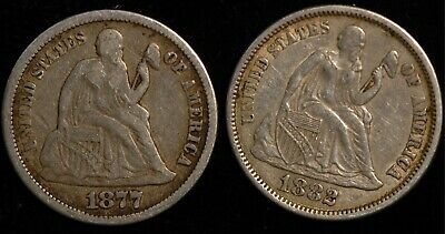 USA Seated Liberty Dime 1877 and 1882 (Tray 72)