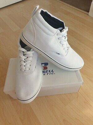 Bnib Russell Athletic White Mid Cut Canvas Trainers Size 11