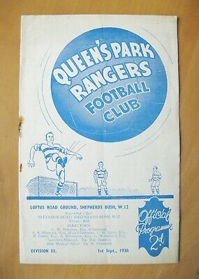 QUEENS PARK RANGERS QPR v EXETER CITY 1938/1939 VG Condition Football Programme