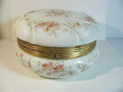 Wavecrest Floral Painted Glass Large Dresser Box Antique