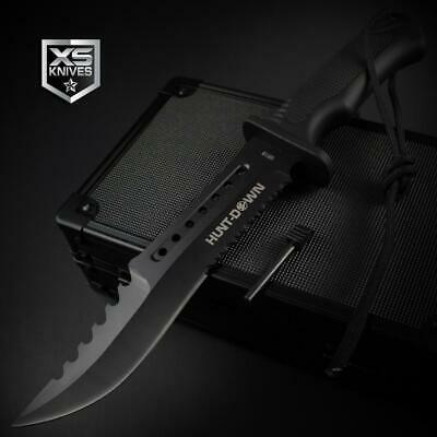 Tactical BLACK Combat BOWIE Hunting FIRE STARTER Survival Fixed Blade Knife 12""