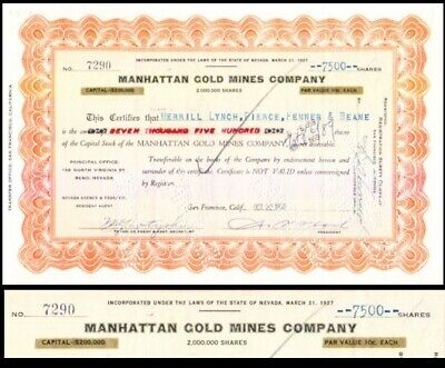 Manhattan Gold Mines Company NV 1927 Stock Certificate