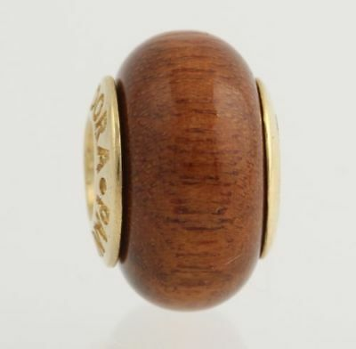 NEW RETIRED Pandora Woodbead Charm - 14k Yellow Gold Core Women's Classic 750706