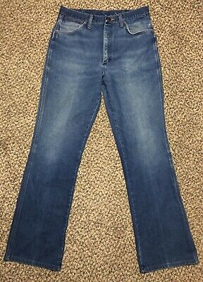 7337db5e Vintage USA WRANGLER 945 DEN Faded Distressed Country Cowboy Work Jeans  32x33