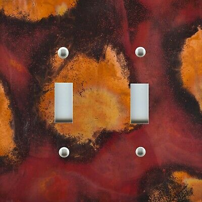 Light Switch Plate Cover PATINA ~ RED ROJA BLACK GOLD