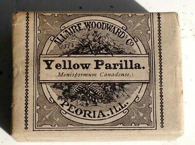 1890 antique UNUSED YELLOW PARILLA QUACK MEDICINE Allaire,Woodward LAXATIVE DIUR