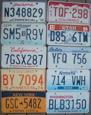Lot of 10 Different US license plates all Embossed -  in great condition