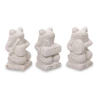 'Musical Frogs I' Limestone Figurines Hand Crafted Sculptures Set 3 NOVICA Bali