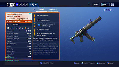 2 130 Silenced SMGs/ Fortnite stw, save the world, xbox, pc, ps4, xbox one