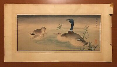 Ducks & Mallard - Japanese Bird Kacho-E O-Hosoban 15X7 Woodblock Print Signed