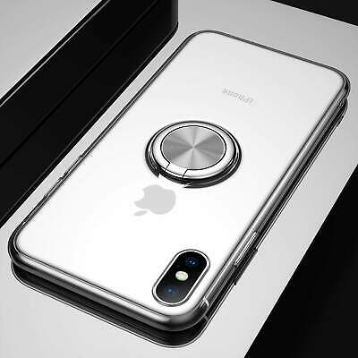 Magnetic Rubber Clear Slim Case Cover W/ Ring Stand Holder For iPhone X [Silver]