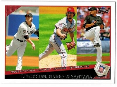 2009 Topps San Francisco Giants Baseball Card #259 Lincecum/Haren/Johan Santana