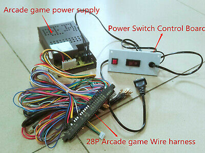 Arcade game Power supply kit 5V-12V with Wire Harness and Switch Plug and Play
