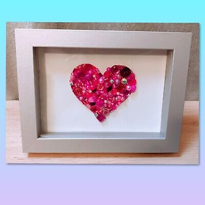 Love Heart Pink And Red Bead Art In Small Shadow Box - Handmade