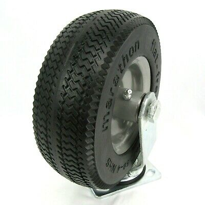 """Marathon 8"""" Swivel Caster Wheel Solid Rubber Pneumatic Tire with Saw Tooth Tread"""