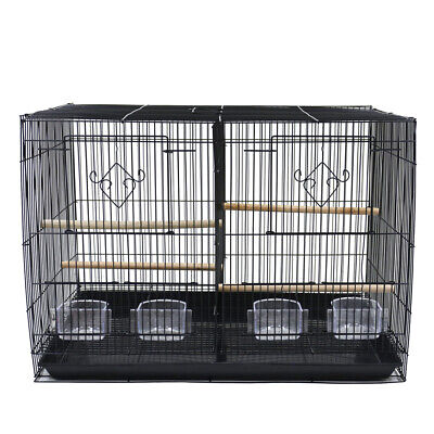 Double Breeding Bird Cage For Finch Canaries Budgie Cockat Small Birds W Divider