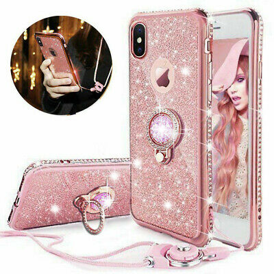 For Samsung Galaxy A70 A20e A50 Bling Glitter Diamond Ring Holder Gel Case Cover