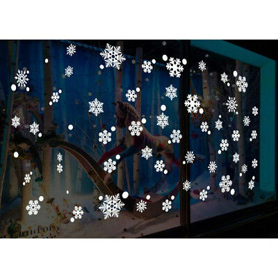 Christmas White Snow Snowflake Wall Stickers Decal Window Decor Removable DS