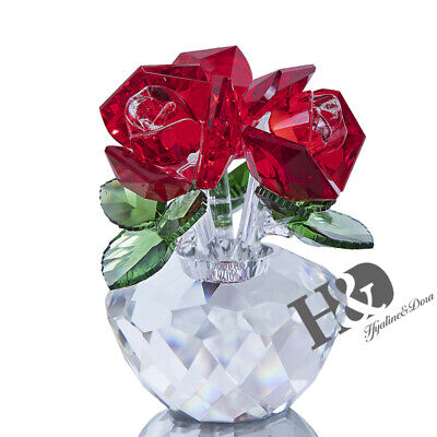 Crystal Cut Glass Flower Figurines Red Rose Living Room Valentine Gift Ornaments