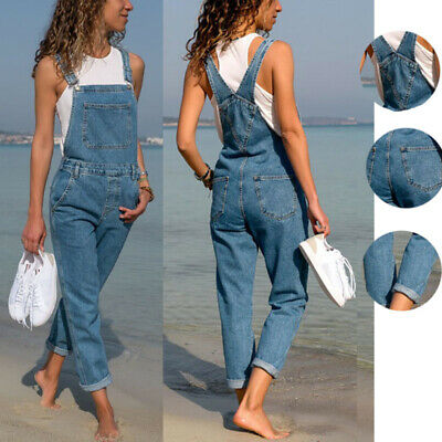 Women's Casual Denim Jeans Pants Bib Straps Jumpsuits Overalls Rompers Trousers
