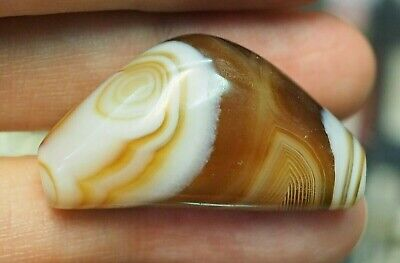 Original antique Himalays  Banded Agate mesmerise Oval Eye Chung Bow Boat Bead