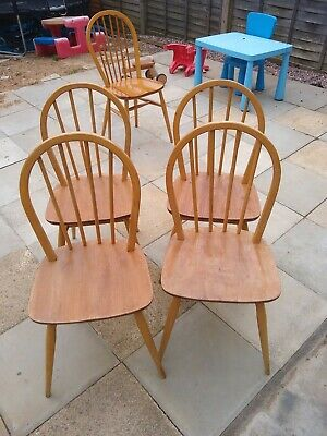 4 X Vintage Mid Century Ercol Windsor Dining Chairs Blonde Elm & Beech /