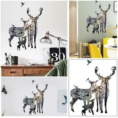 Sika Deer Head Wall Sticker Removable Decal Home Room Wall Art Mural DS