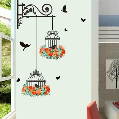 Removable Wall Bird And Flower Stickers Wardrobe Bedroom Home Art Decals DS