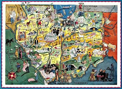 1932 RARE Antique INDIANA & ILLINOIS State Map Berta Hader Picture Map EBH 6733