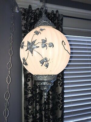Vintage Hollywood Regency Mod White Flower Swag Glass Globe Hanging Lamp WOW