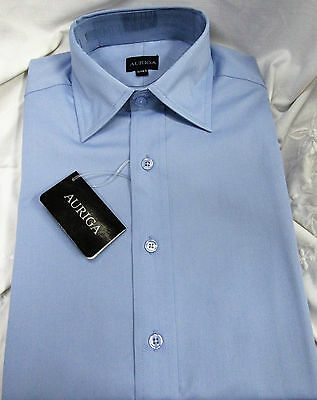 Mens Long Sleeve Light Blue Shirt Business Work Formal Smart Plain Casual - 14.5