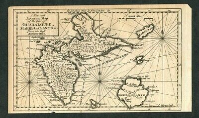 1759 Original Antique Map of the West Indies Guadeloupe