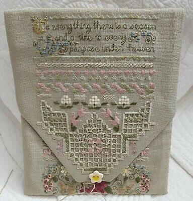 Hand Embroidered Sampler Sewing Pouch - Hardanger, Pull Thread,Cross + Many More