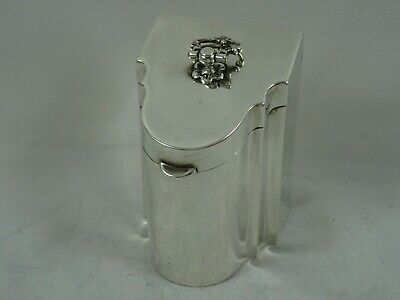 RARE, `KNIFE BOX` solid silver TEA CADDY, 1910, 138gm