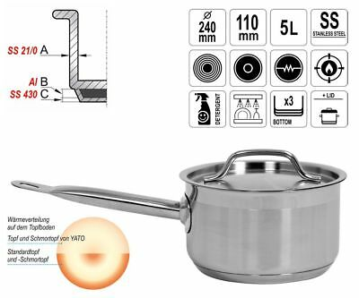 Gastronomy Quality Stainless Steel Saucepan Casserole with Lid 5L Induction