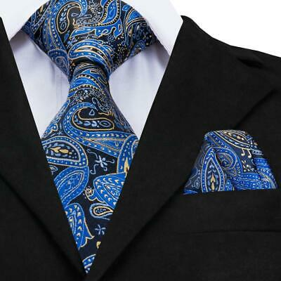 USA Classic Men's Silk Tie Blue Black Paisley Necktie Hanky Wedding GP-008