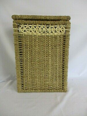 Laundry Basket, Woven Wicker, Rattan with Hinged Lid, 50cm tall, 34cm wide