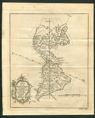 1758 Original Antique Map of the New Continent North America Colonies