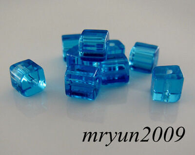 Free BEADS CUBE Lake Square 6x6mm CRYSTAL Dream findings Beads Blue 100pcs Glass