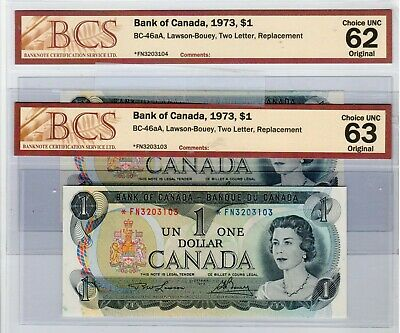 Bank of Canada Banknotes, 1973 $1 Consecutive Replacement X 2, CUNC 62 Original.