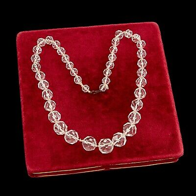 Antique Vintage Deco Base Metal Graduated Faceted Crystal Glass Beaded Necklace