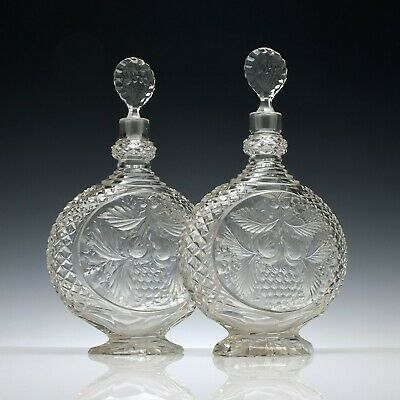 Pair of Large Victorian Intaglio Cut Glass Decanters c1890