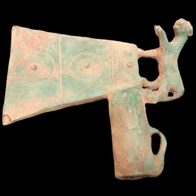 Rare Ancient Roman Bronze Axe With Animal - 200-400 Ad (1) Large Over 16 Tall