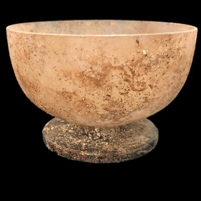 VERY RARE LARGE ANCIENT ROMAN CLEAR GLASS BOWL 1st Century A.D. (2)