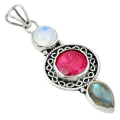 Natural Red Ruby Labradorite 925 Sterling Silver Pendant Jewelry M46571