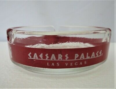 Caesars Palace Hotel Casino Las Vegas Glass Advertise Ringed Ashtray Red / clear