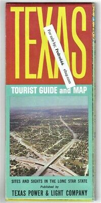 1964 Texas Tourist Guide Highway Road Map Sights & Sites Poster Power Light Co