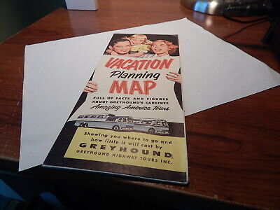 Vtg 1955 Greyhound Bus Tours Vacation Planning Map Scenicruiser National Parks