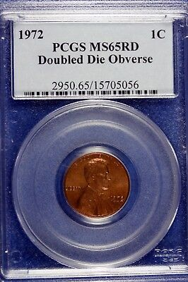 1972 - PCGS MS65RD DOUBLE DIE OBVERSE Lincoln Cent!!  #B14309